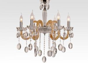 China White Amber Hanging Modern Glass Chandeliers with Art Glass for Dining room / Foyer on sale