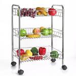 H289 Stainless Steel Metal Trolley Cart 3 Tier On Wheel Vegetable / Fruit Rack