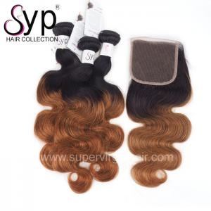 China 12 - 30 Blonde Ombre Hair Extensions 2 Tone 1B / 30# Natural Black Dark Root on sale