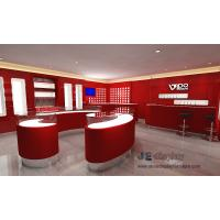 Popular Electronic cigarette selling Store Interior fitout design Display red wall cabinet and Glass showcase