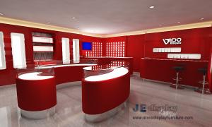 China Popular Electronic cigarette selling Store Interior fitout design Display red wall cabinet and Glass showcase on sale