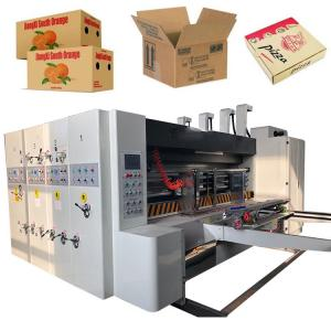 China 4 Color High Speed Flexo Printing Slotting Die Cutting Machine for Pizza Vegetable Fruit Boxes on sale