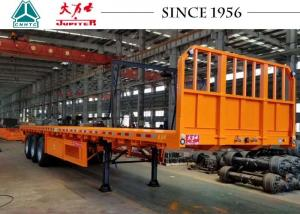 China 3 Axle Flatbed Trailer With Front Side Wall , Flatbed Car Trailer Long Life on sale