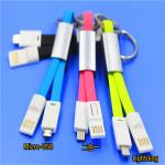 2 In 1 Keychain Usb Charging Cable TPE Material Fit Android And IPhone