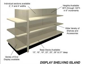 China 4 way Display gondolas Shelving Island, Wall Shelving for retail or convenient store on sale