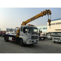 Dongfeng Recovery 6 Ton Wrecker Tow Truck , Flatbed Tow Truck Mounted With 6.3 Ton Telescopic Crane
