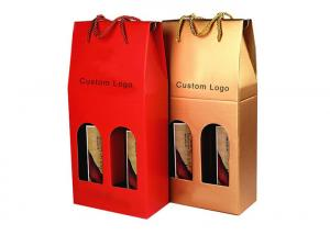 China Professional Kraft Paper Shopping Bag , Gift Packaging Bags For Wine Bottle on sale