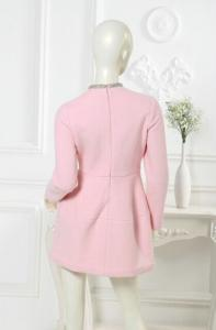 China Plus Size Long Sleeve Round Collar  Womens Casual Clothing Pink Dress for Adults on sale