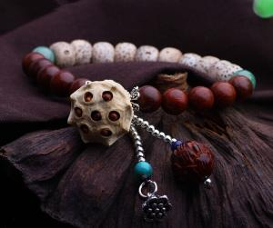 China Sandalwood beads and Bodhi seed lotus bead bracelets in sterling silver, bodhi jewelry on sale