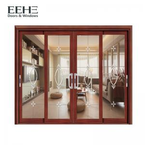 China Non Thermal Break Aluminium Frame Glass Sliding Door For Kitchen Color Optional on sale