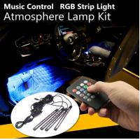 4Pcs USB LED Car Interior Decoration Lights RGB Floor Atmosphere Light Strip Music Control Neon Lamp