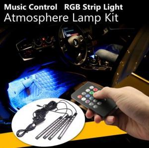China 4Pcs USB LED Car Interior Decoration Lights RGB Floor Atmosphere Light Strip Music Control Neon Lamp on sale