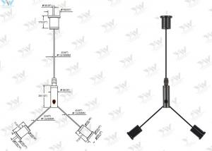 China Black Cable Suspension Kits Y - Type Cable Cross For 600 Mm X 600 Mm LED Panel on sale