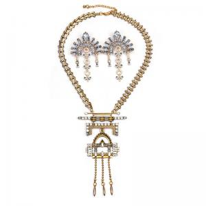 China Wholesale Gold and silver alloy Necklace&Earrings Statement Jewelry set on sale