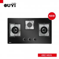 China 3 saba burners built-in AC power glass cooktop copper gas cooker on sale
