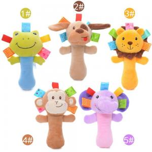China Plush Dog Frog Monkey Baby Rattles Toys for Kids / Infant Developmental Training Toy on sale