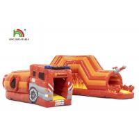 China PVC 0.55mm 21ft Red Fire Truck Inflatable Obstacle Course For Kids on sale