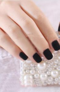 China Charming Flocking Powder Nail Art Black Full Cover Aritficial Nail Tip on sale