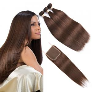 China Brown  Ombre Human Hair Extensions / Straight Human Hair Weave With 4X4 Closure on sale