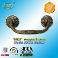 Antique Brass Metal zamak Coffin Handles H031 Metal Casket Hardware And Funeral Decorative size 19.0*7.5