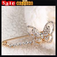 Accessories Simple Crystal Bow Brooches,Large Golden Plated Brooch Pins For Wedding Party