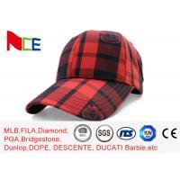 FUN 6 Panel Baseball Hat , Red Black Grid Tennis Baseball Caps Street Style