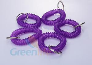 China Stretchable Purple Plastic Wrist Coil Bracelet 55 MM Fall Protection For Keys on sale