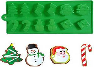 China Christmas Tree Silicone Cake Molds With Snowman Santa Of 21.5 * 10 CM on sale