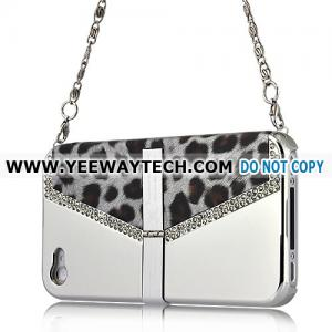 China iphone 4S back covers 42232 Xcase - Chain Handle Rhinestone Leopard Case with Stand for iPhone 4 (Silver) on sale