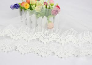 China Off White Cotton Embroidered Lace Trim For Sewing Clothes / DIY Wedding Dress Decoration supplier