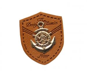 China custom leather labels for hats garment leather tags wholesale with metal logo on sale