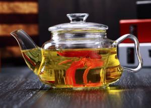 China Mouth Blown Glass Teapot With Infuser Microwave Safe 1000ml Customized logo on sale