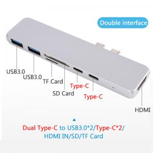 China 7 in 1 Dual Type-C Docking Station Hub M-Book USB-C,4K HD-MI,2xUSB3.0,SD and Micro-SD Card Reader on sale