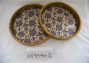 China Retro Metal Printed Entryway Table Wooden Food Tray on sale