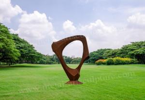 China Art Craft Modern Circle Corten Steel Sculpture Cutting & Welded Design on sale