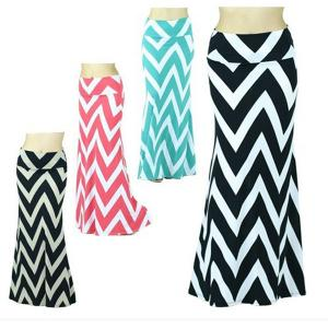 China Spring Chevron Print Zigzag Womens Long Maxi Skirts In Polyester / Spandex on sale