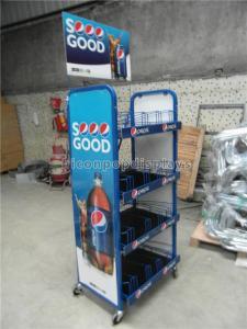 China Supermarket Gondola Shelving Powder Coating Cola Merchandising Display Stand on sale