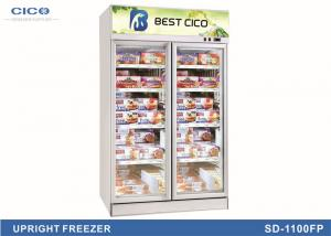 China Electric 2 Door Upright Commercial Fridge LOW - E Glass Customized Size on sale