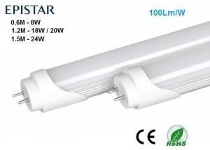 China Aluminum T8 LED Tube Light 1.5M 24W, 1.2M 20W, 0.6M 8W, AC85-265V 100Lm/W,CRI>80 PF>0.9,  2500-7000K, 3 years warranty on sale
