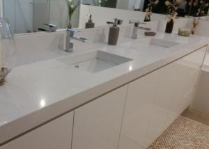 China White Artificial Stone Bath Vanity Tops With Sink Eased Edges on sale