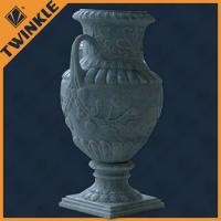 Green customized round stone flower pots corrosion resistance for garden decoration
