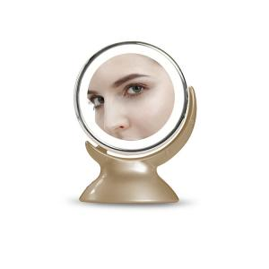 China 360° Rotation Countertop Makeup Mirror Dual Sided With 3 Free Batteries LED Light on sale
