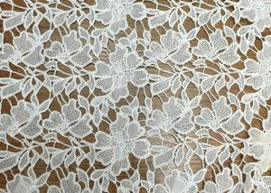 China 3D White Floral Polyester Embroidered Lace Trim Fabric For Apparel / Home Decorating on sale