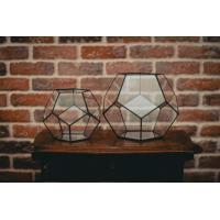 China Modern Artistic Clear Geometric Glass Terrarium Flower Pot Environmental For Room on sale