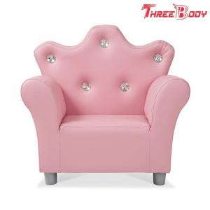 China Comfy Modern Kids Furniture Child 'S Crown Armchair Pink PU Leather Sofa For Girls on sale