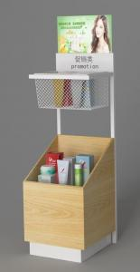 China Floor Standing Cosmetic Display Racks / Facial Mask Display Stand With Big Storage on sale