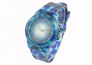 China Leopart Print Womens Quartz Watch with Lucid PVC Wristband , Bling Crystal on sale