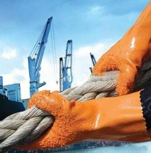 China Anti Slip Industry Safety Working Gloves Orange With PVC Coated on sale