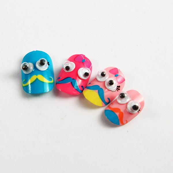 Artificial Nail Art Kids Fake Nails Pre Glued with Imported nail ...