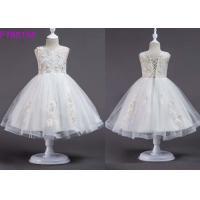 Short Sleeveless White Lace Flower Girl Dress / Eco Friendly Cute Flower Girl Dresses